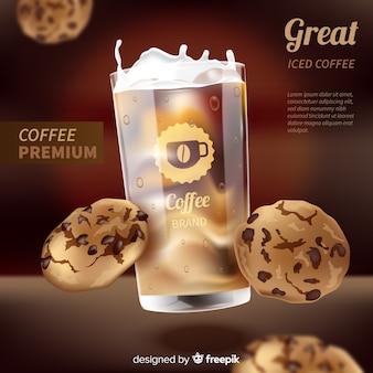 Anuncio de café con diseño realista