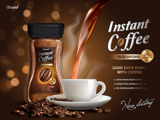 Anuncio de café instantáneo, con elementos de flujo de café, fondo bokeh