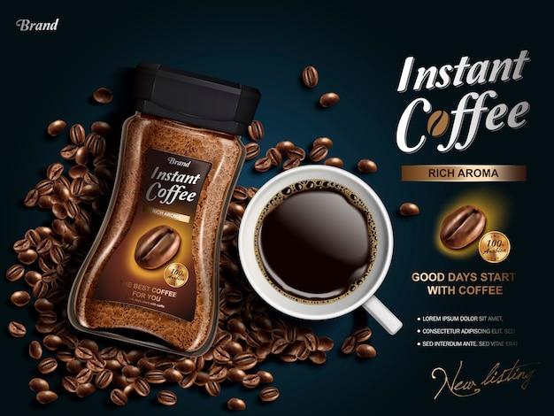 Anuncio de café instantáneo, con elementos de granos de café, fondo azul marino.