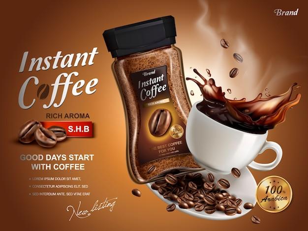 Anuncio de café instantáneo, con elementos de salpicaduras de café, fondo marrón