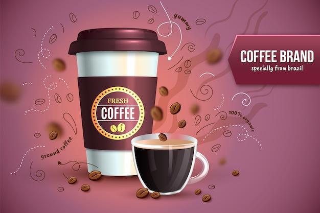 Anuncio de café recién hecho