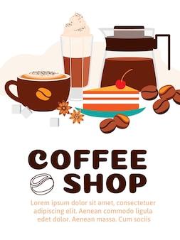 Anuncio de cafetería con hermosos elementos para café.