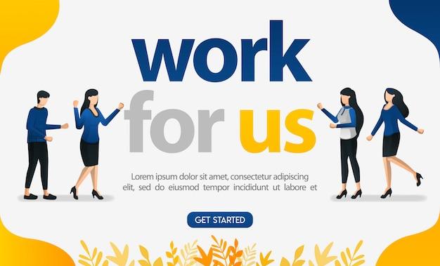 Anuncio de cartel de reclutamiento de empleados con el tema trabaja con nosotros.
