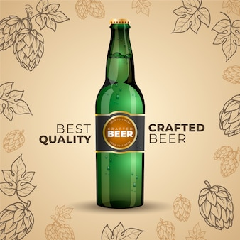 Anuncio de cerveza con ilustración vintage