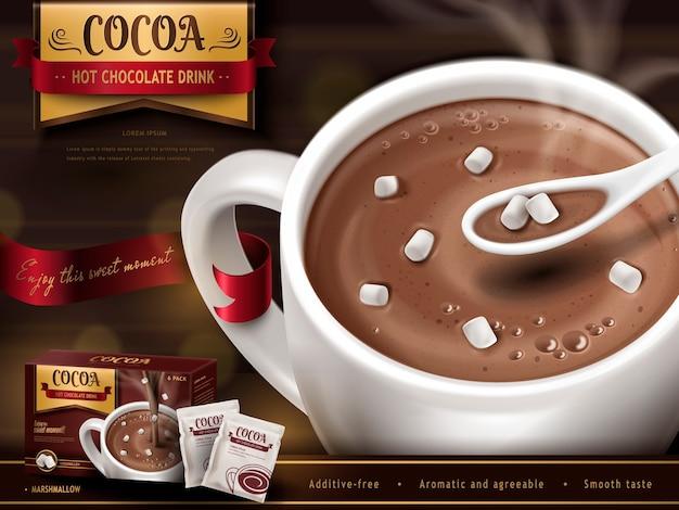 Anuncio de chocolate caliente con cuchara, malvaviscos pequeños y fondo borroso