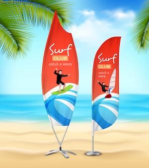 Anuncio de club de surf banners de playa