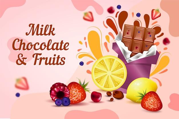Anuncio de comida de chocolate con leche y frutas