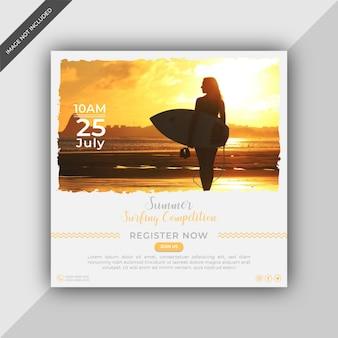 Anuncio de competencia de surf en redes sociales o plantilla de publicación cuadrada de instagram