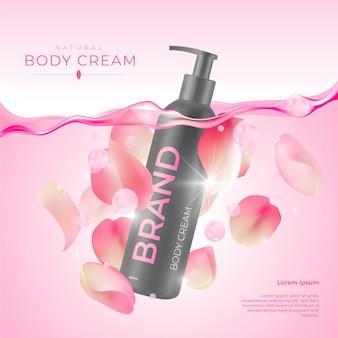 Anuncio cosmético de crema corporal con rosas