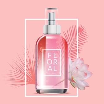 Anuncio cosmético de perfume floral