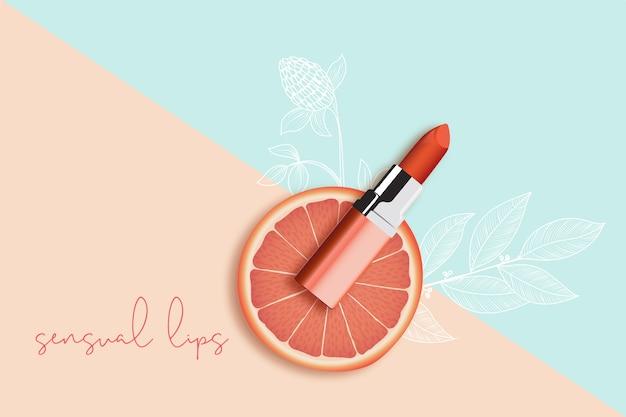 Anuncio cosmético de producto de lápiz labial
