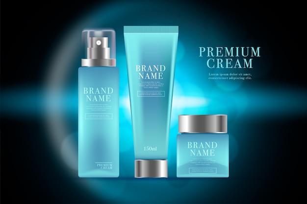 Anuncio cosmético de productos para el cuidado de la piel de los hombres