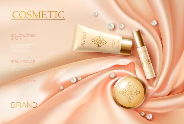 Anuncio cosmético realista en 3d suave tela brillante de seda rosa beige