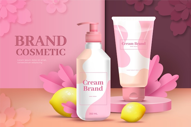 Anuncio de cosméticos de marca de gel y crema de loción rosa