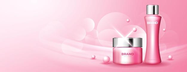 Anuncio de cosméticos rosa cereza