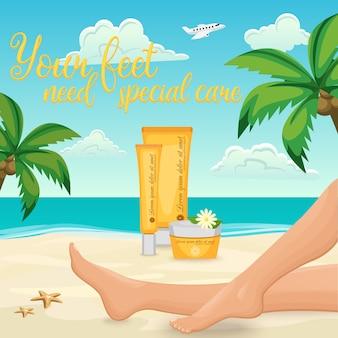 Anuncio de crema de pies femeninos