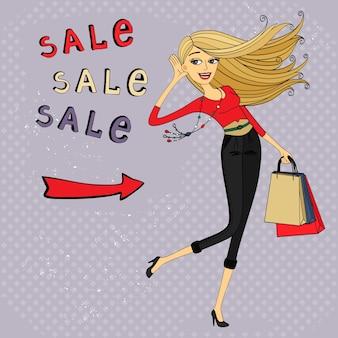 Anuncio de venta de moda, chica de compras con bolsas