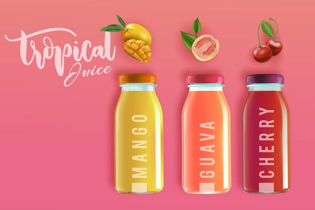 Anuncio de delicioso jugo natural tropical