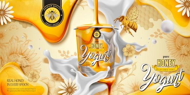 Anuncio de delicioso yogur de miel con ingrediente goteando desde la parte superior, fondo de estilo de grabado