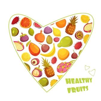 Anuncio de dieta de frutas saludables con hart en forma de surtido de pera plátano y piña ilustración vectorial abstracto