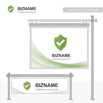 Anuncio de empresa banner diseño único con escudo logo