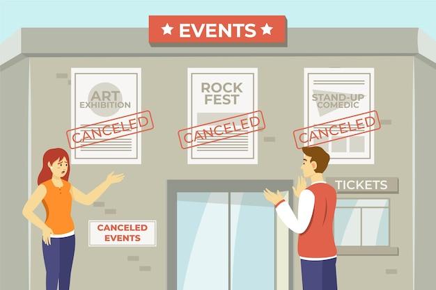 Anuncio de eventos cancelados