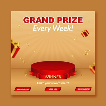 Anuncio del ganador del gran premio para la plantilla de publicación en redes sociales