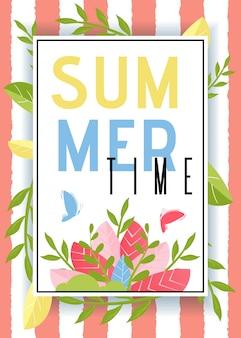 Anuncio de horario de verano y mariposas flotantes en marco