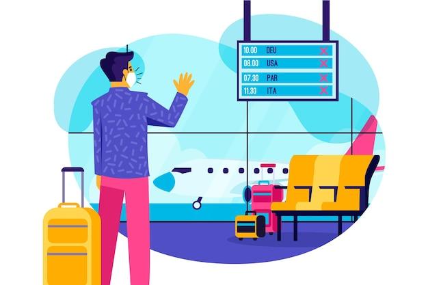 Anuncio ilustrado de vuelo cancelado en el aeropuerto