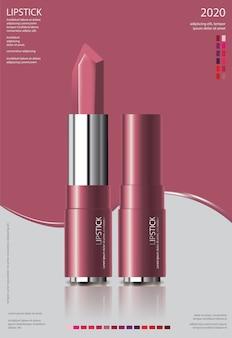 Anuncio de lápiz labial cosmético de póster