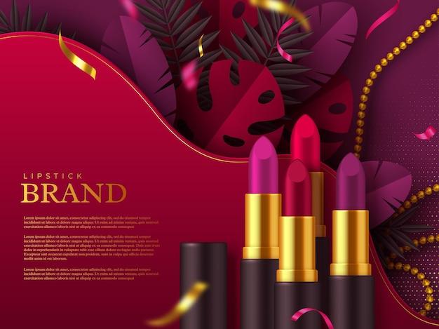 Anuncio de maquillaje de lápiz labial, productos de belleza cosméticos. hojas y abalorios tropicales decorados. plantilla para publicidad.