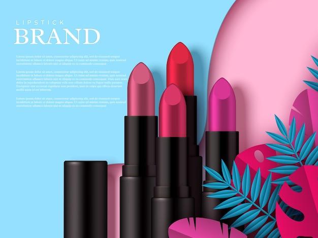 Anuncio de maquillaje de lápiz labial, productos de belleza cosméticos. hojas tropicales decoradas. endecha plana en colores pastel. plantilla para publicidad.