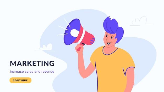 Anuncio de marketing de banner de altavoz de marketing en internet y redes sociales