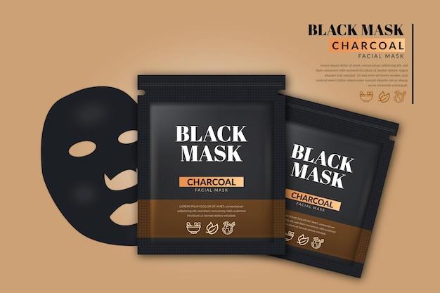 Anuncio de máscara de hoja de carbón realista