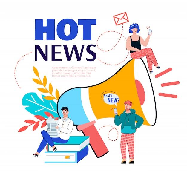 Anuncio de noticias calientes con personas e ilustración de vector de dibujos animados de megáfono.