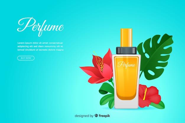 Anuncio de perfume realista con flores.