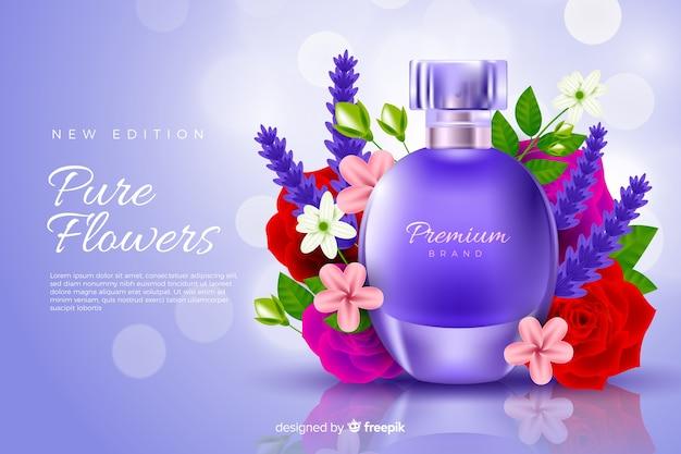 Anuncio de perfume realista con flores