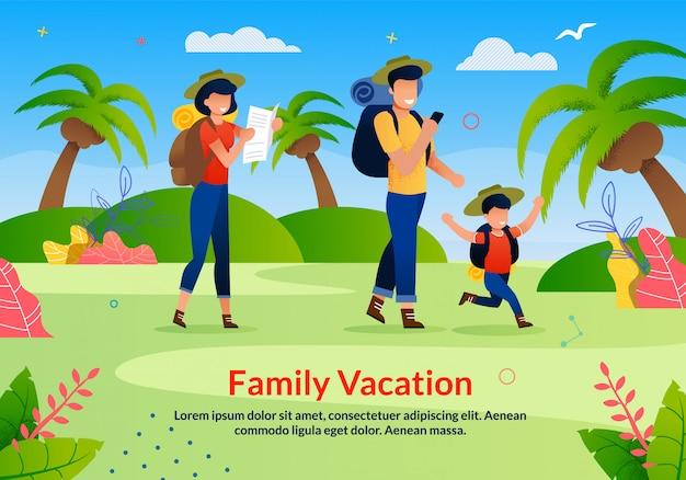 Anuncio plano de publicidad de exploración de vacaciones familiares
