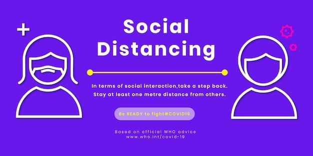 Anuncio de plantilla de diseño de distanciamiento social