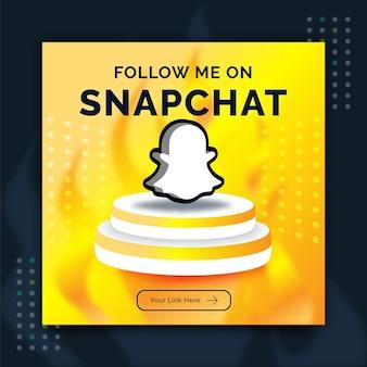 Anuncio de plantilla de publicación de banner de redes sociales de promoción de snapchat en estilo 3d