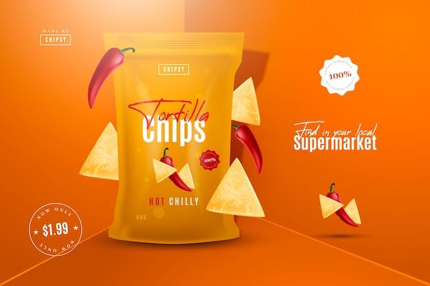 Anuncio de producto alimenticio de chips de tortilla
