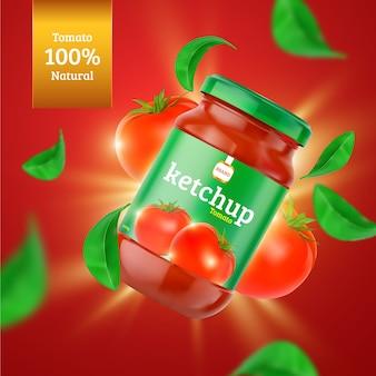 Anuncio de producto alimenticio de ketchup orgánico