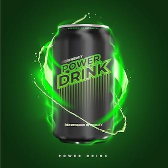 Anuncio de producto de bebida energética potente y refrescante