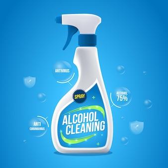 Anuncio de productos de limpieza realistas