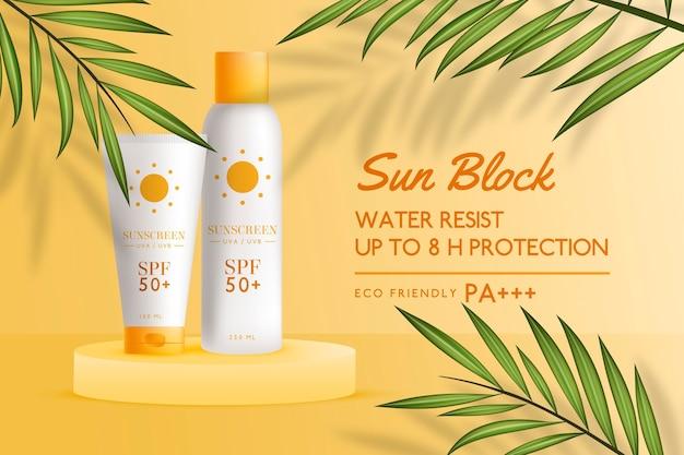 Anuncio de protector solar realista