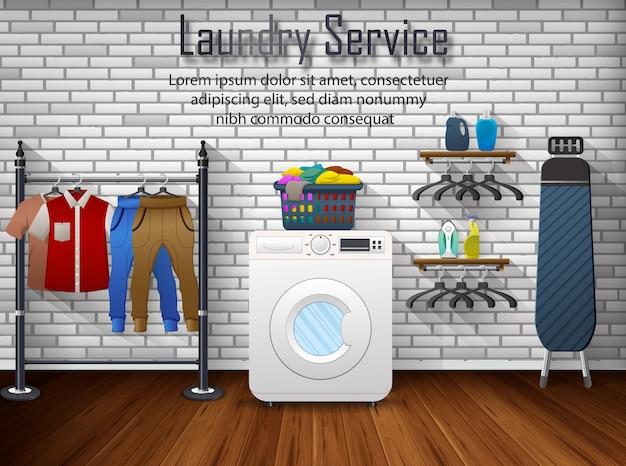 Anuncio publicitario de servicio de lavandería
