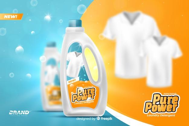 Anuncio realista de anuncio de detergente de ropa