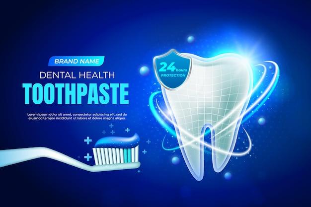 Anuncio realista de cuidado de la salud dental.