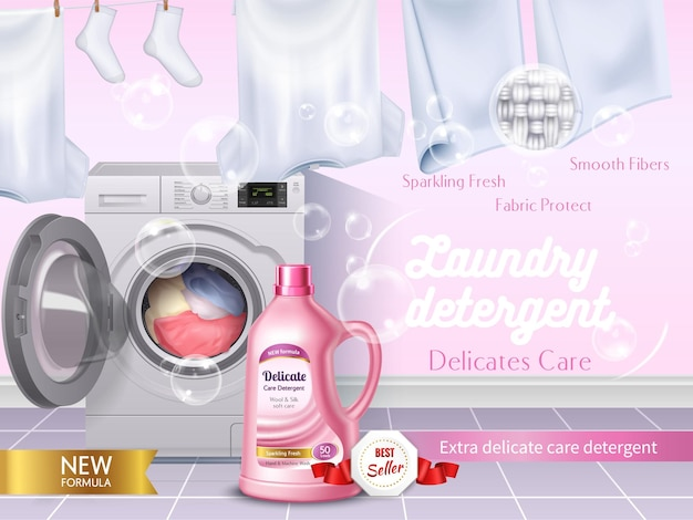 Anuncio realista de detergente para ropa