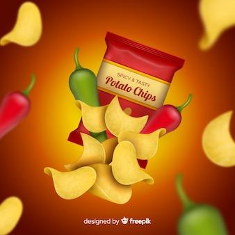 Anuncio realista de patatas fritas